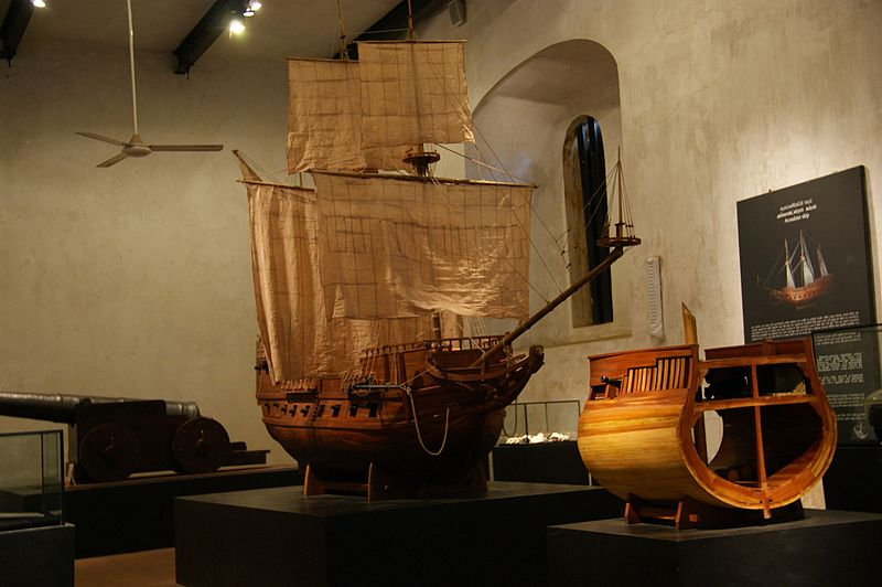 Exhibits of maritime artefacts at the National Maritime Museum in Galle Fort