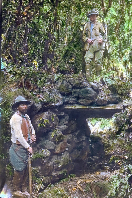 iew of Hiram Bingham III standing atop a jungle bridge at Espiritu Pampa in Peru